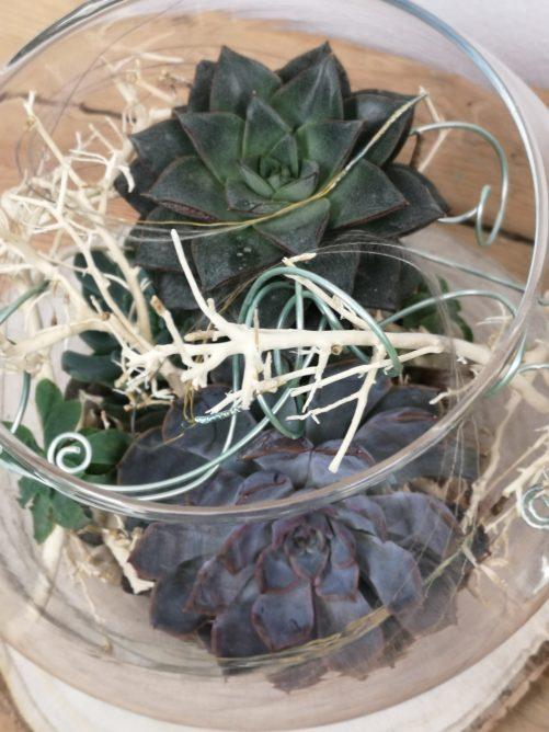 detailansicht florale Glaskugel
